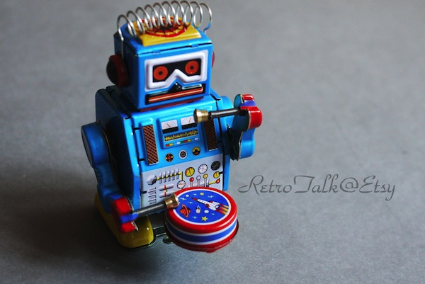 Wind-up, Drum-Playing Robot